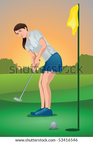An image showing a woman golf player putting the ball into the hole - stock photo