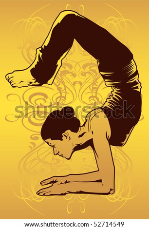 An image showing woman performing a yoga pose known as ardha vrschikasana - stock photo