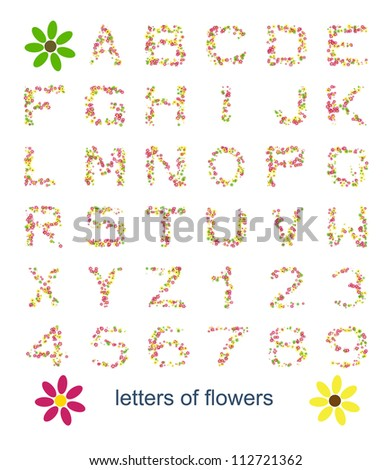 An image with some colorful letters of flowers - stock photo