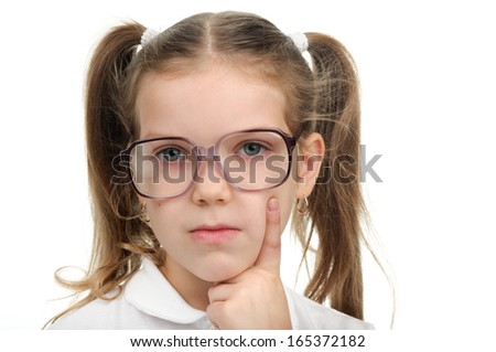 An images of nice little girl with glasses