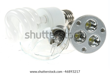 An incandescent light bulb crushed to oblivion by fluorescent and LED bulbs as more and more countries outlaw incandescent lighting. - stock photo
