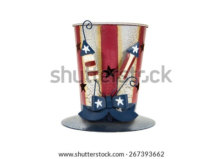 An Independence Day candle holder against a white background - stock photo