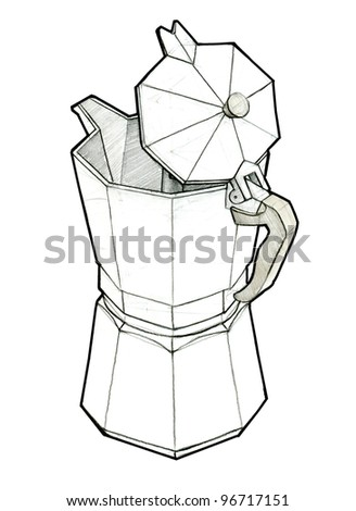 An industrial sketch of italian coffee pot, made in pencil and scanned in very high resolution. - stock photo