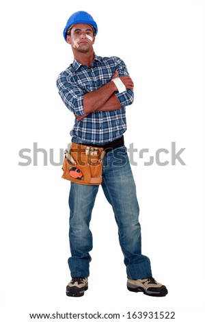An injured construction worker. - stock photo