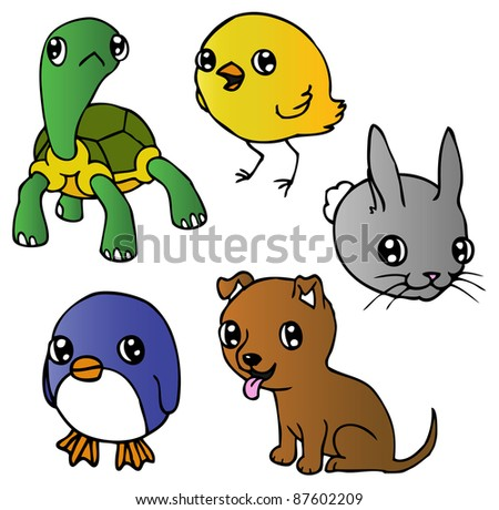 An ink illustration of a cute cartoon puppy, tortoise, penguin, chick and rabbit. Raster.