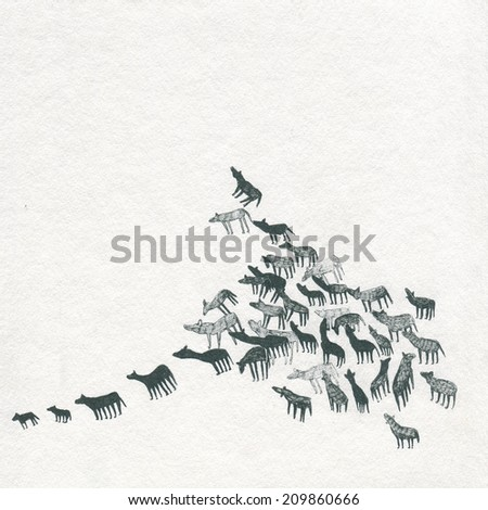 An ink illustration of a pack of wolf animals, wolves or dogs running or floating towards the sky - stock photo