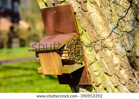 An insect house or hotel attached to a tree trunk. Many insects need places to hibernate during winter. This small unit provides shelter year round. - stock photo
