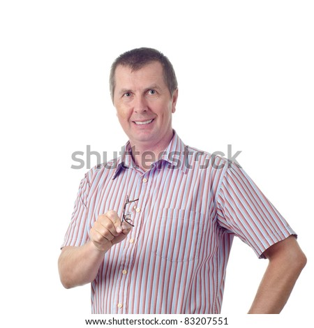 An instructing man with glasses isolated on white. - stock photo