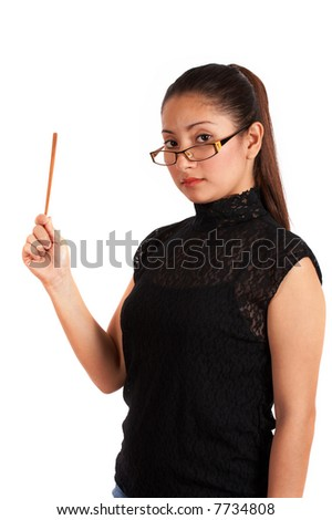 An instructor holding a stick pointing on a blank board