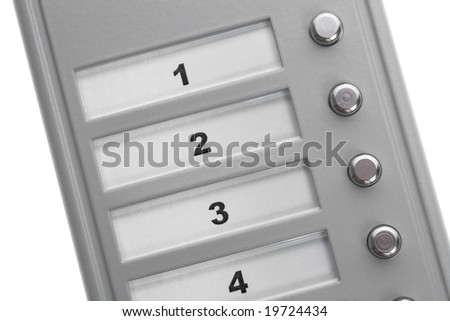 An intercom doorbell panel isolated on white - stock photo