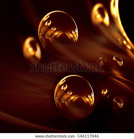 An interesting and mystical gold abstract image on a dark background.