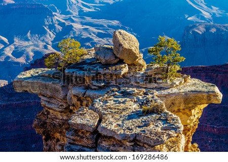 An Interesting Island in the Sky on a Pinnacle Near the South Rim of the Magnificent Grand Canyon in Arizona - stock photo