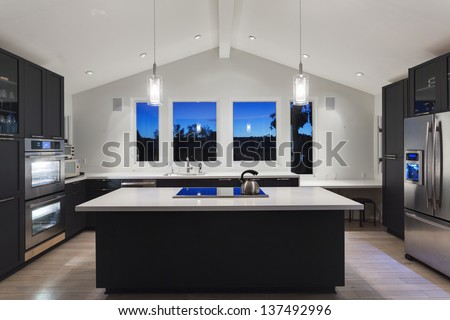 An interior of a rich house kitchen - stock photo