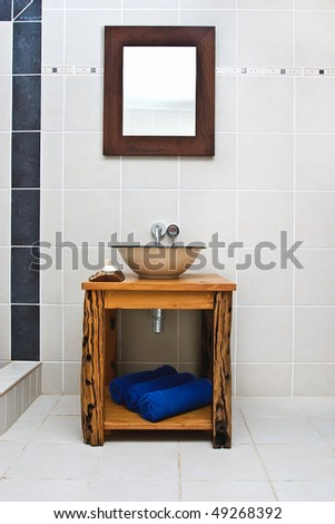 An Interior shot of a rustic bathroom - stock photo