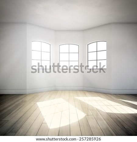 An interior view of an oriel with three windows - stock photo