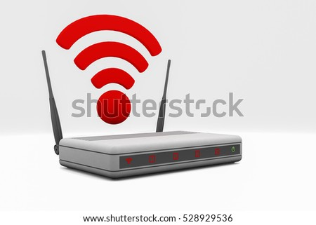 An internet wireless router (3d rendering)