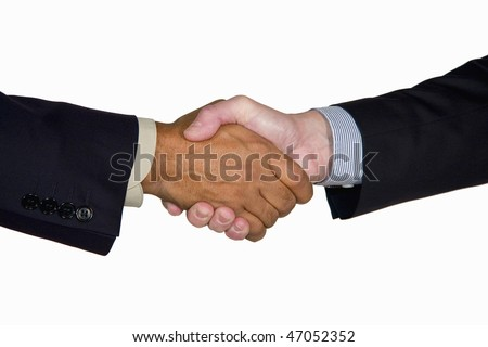 an interracial handshake between a mature caucasian and African-American businessman, isolated on white background - stock photo