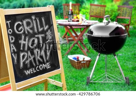 An Invitation To A Summer Barbecue Grill Party, Written on Blackboard, Barbecue Charcoal Grill Appliance And Outdoor Wooden Furniture On The Backyard Garden Lawn In The Background - stock photo