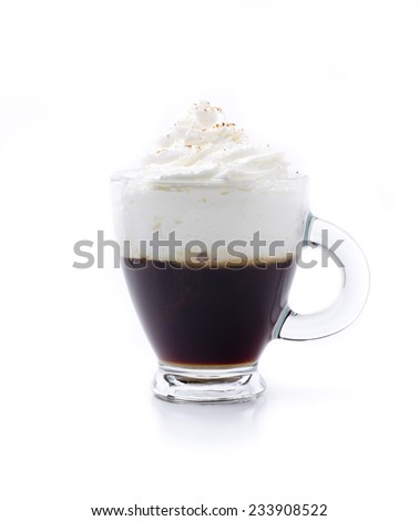 an Irish coffee, a famous cocktail with a basis of coffee - stock photo