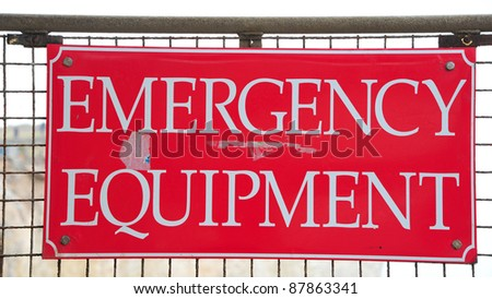 An iron plate indicating emergency equipment - stock photo