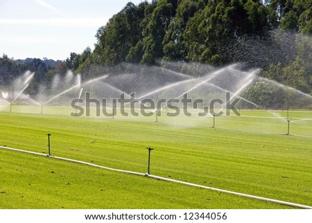 An irrigation system on a turf farm, near Windsor, New South Wales, Australia - stock photo