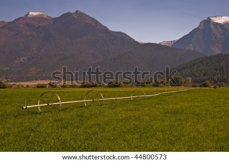 An irrigation wheel line in a hayfield on a ranch in a valley in northwestern Montana with snow-capped mountains in the background - stock photo