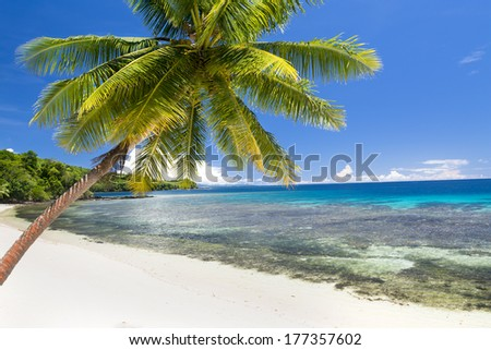 An island in Fiji with white sandy beach, turquoise water and a big, beautiful sky shows a getaway paradise for travelers - stock photo