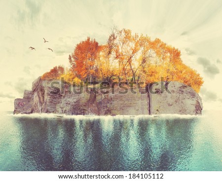 an island with trees and birds done with a retro vintage instagram filter  - stock photo
