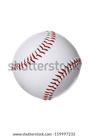 An isolated baseball ball on white background. - stock photo
