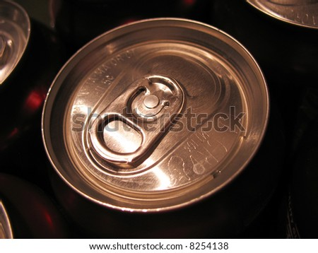 An isolated beverage can top - close up. - stock photo