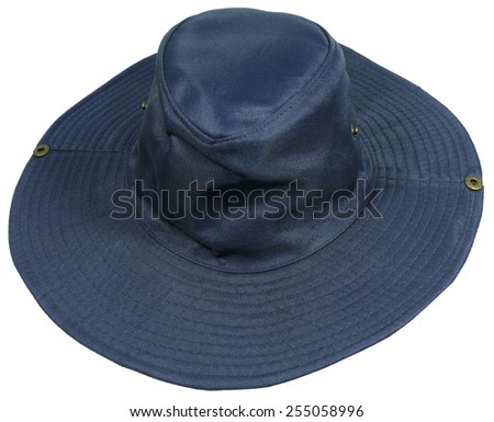 An isolated blue sun hat - stock photo