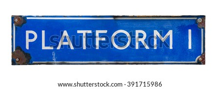 An Isolated Blue Vintage Railway Station Sign - stock photo