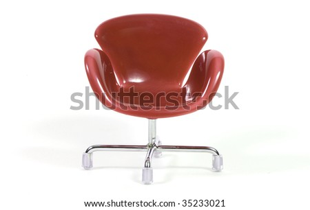 an isolated brown chair on white