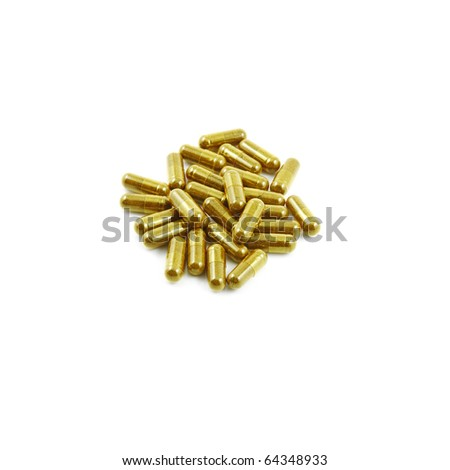 An isolated cutout of a cluster of ginseng extract powder capsule pill. - stock photo