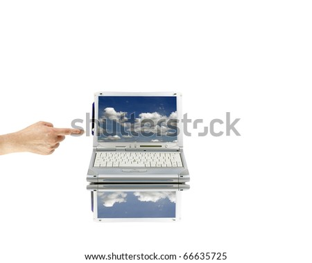 An isolated cutout of a female hand pointing at a mini computer laptop with reflection.
