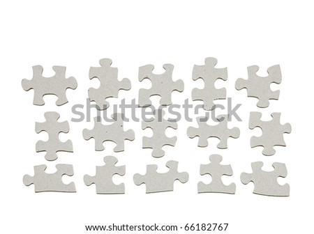 An isolated cutout of a set of jigsaw puzzle pieces.