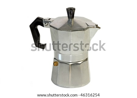 An isolated espresso maker on white background - stock photo