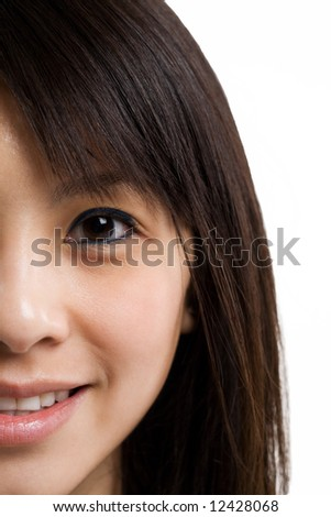 An isolated face shot of a beautiful asian woman - stock photo