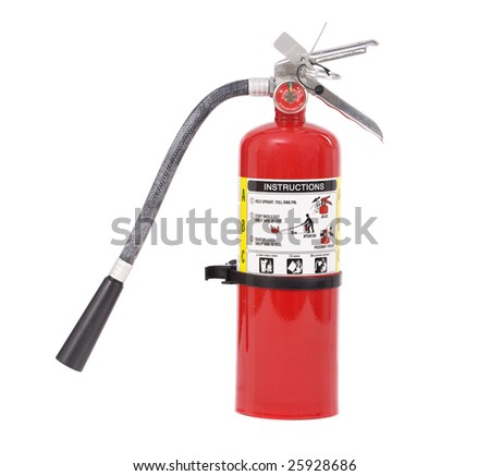 An isolated fire extinguisher on a white background - stock photo
