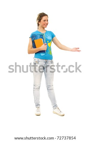 An isolated full length portrait of a beautiful young girl student