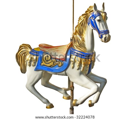 An isolated horse of a carousel - stock photo