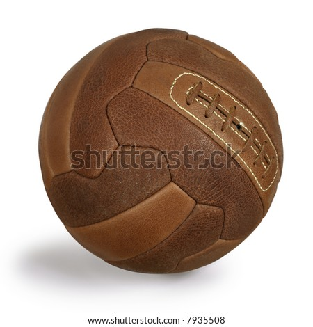 An isolated image of an old retro leather soccer ball. - stock photo