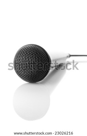 an isolated microphone with reflection.