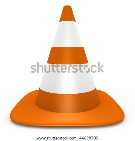 An isolated orange traffic cone - 3d image - stock photo