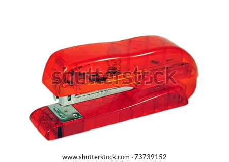 an isolated ordinary stapler - stock photo