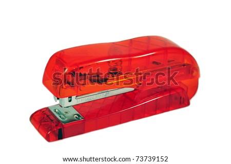 an isolated ordinary stapler - stock photo
