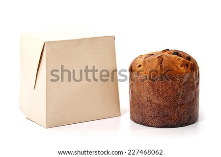 An isolated panetone and box on white background for christmas - stock photo