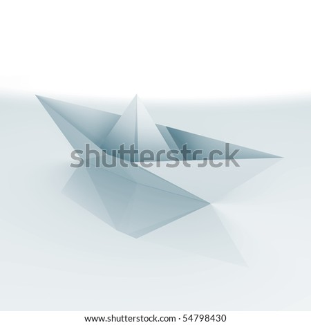 An isolated paper boat - a 3d image - stock photo