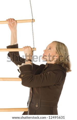 An isolated photo of a businesswoman climbing a rope-ladder - stock photo
