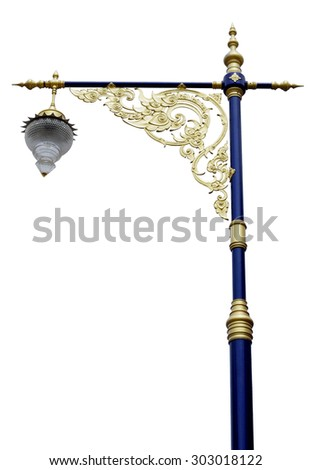 An isolated photo of a street lamppost in thailand - stock photo